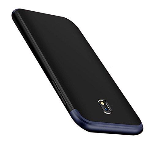 Coque Samung Galaxy J3 2017 étui ,Qissy® 3 en 1 Bumper Tout inclus Ultra Mince Spécialement Design 360 PC protective Hard case Cover Pour Samung Galaxy j3 2017 5.0 pouces Smartphone Azul+negro