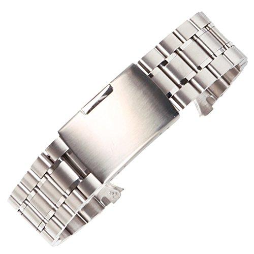 22 millimetri elegante bracciale orologio in acciaio inox spazzolato banda polacca solidi legami piegati chiusura di sicurezza in argento
