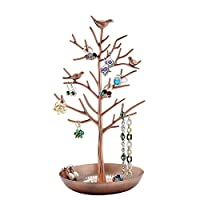 Jewelry Holder Earring Necklace Bracelets Organizer Stand Display Birds Tree Jewellery Hanging Rack Tower(Bronze)