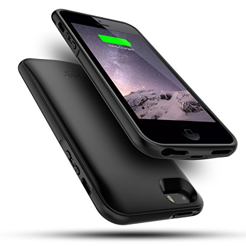 iPhone SE 5SE 5 5S Custodia Batteria, LifeePro Ultra Slim 4000mAh Caricabatterie Esterna Portatile integrata Batteria Power Bank Backup Full Protezione Ultra Sottile Extra Pack Cover Batteria Caso di Ricarica Charging Custodia Protettiva Bumper Shell Black