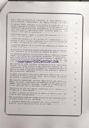 CORRESPONDANCE DE LA PRESSE (LA) [No 11667] du 09/06/1995 - SOMMAIRE - CALENDRIER DE LA PROFESSION - PROBLEMES DÔÇÖACTUALITE DE LA PRESSE - LE PRESIDENT DU CONSEIL SUPERIEUR DE LÔÇÖAUDIOVISUEL C S A M HERVE BOURGES JUGE UTILE DE REFLECHIR A LÔÇÖOCCASION DÔÇÖUNE REFORME CONSTITUTIONNELLE A LA POSSIBILITE DÔÇÖATTRIBUER AU CONSEIL UN CERTAIN POUVOIR REGLEMENTAIRE - MULTIMEDIA ET NOUVELLES TECHNOLOGIES LES ARTISTES-INTERPRETES INQUIETS POUR LÔÇÖAVENIR DE LEURS DROITS - IPSOS VIENT DE PUBLIER LES RE