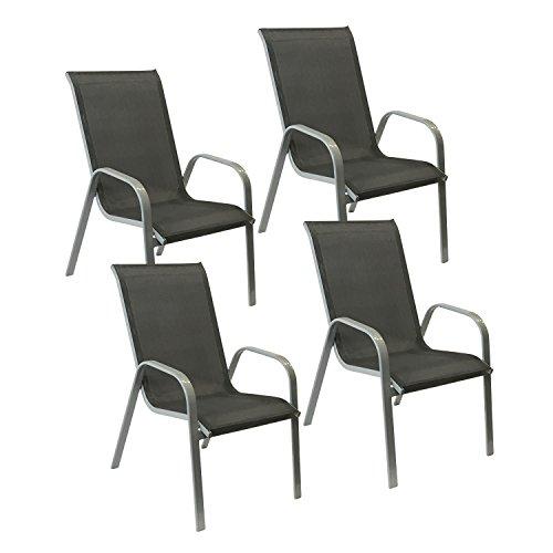 Happy Garden Lot de 4 chaises Marbella en textilène Gris - Aluminium Gris