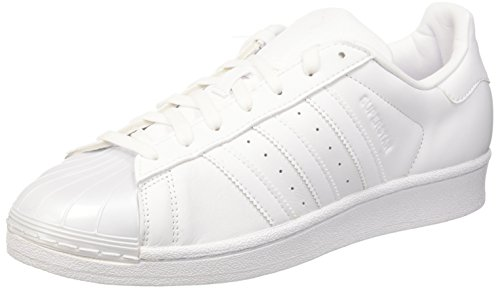 adidas Damen Superstar Glossy Basket, Bianco (Ftwwht/Ftwwht/Cblack), 37 1/3 EU Adidas Weiß Basketball-schuhe