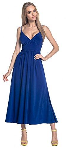 Glamour Empire. Donna Vestito Svasato di Seta Maxi Cinghietti Scollo a V. 276 Blu Royal
