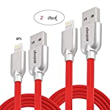 iPhone Ladekabel, Sheepam [2er-Pack 2.0Mt] Lightning Kabel auf USB TPE-Material iPhone Kabel für Apple iPhone X / 8 / 8 Plus / 7 / 7 Plus / 6s Plus / SE / 5S / 5C / 5, iPad und iPod. (Rot) (2.0m)