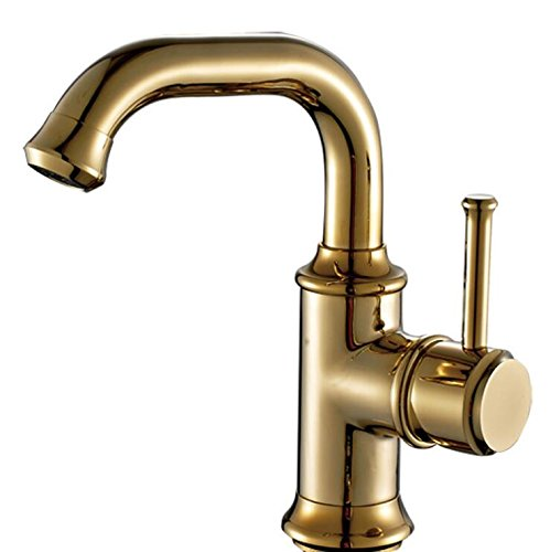 DDHZTA Messing Gold Rotierenden Becken Europäischen Badezimmer Wasserhahn Schwerkraft Druckguss - Konverter Wasserhahn, Spüle, Dusche