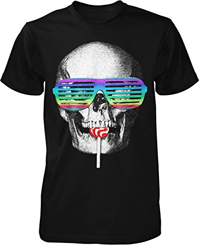 Party Skull Fun T-Shirt Feier Kult Retro Swag Brille Rock Shuffle Rainbow Lolly