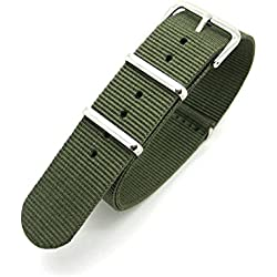 Olive Green Infantry Military MoD NATO Nylon Fabric GENERIC G10 4 Rings Watch Strap Band Chrome Buckle
