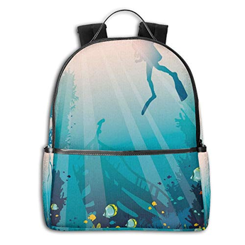 College School Backpacks,Silhouette of A Scuba Diver Sunken Ship and Coral Reef,Casual Hiking Travel Daypack -