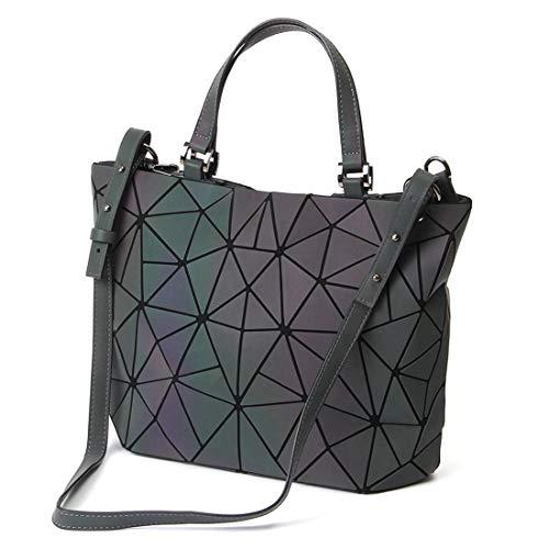 Damen Handtasche Frauen Umhängetasche Clutch Abendtasche Geometrische Ling Grid Leuchtende Farbwechsel Kreuz Körper Tasche (Leuchtende Large)