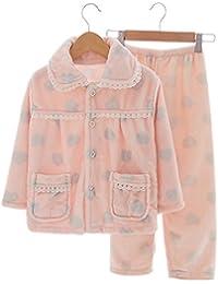 Heart Flannel Niños pijama traje de baño suave Velvet Sleepwear Nightcloth