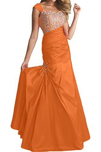Gorgeous Bride Elegant Breit Traeger Mermaid Taft Kristall Abendkleid Ballkleid Hochzeitskleid Orange
