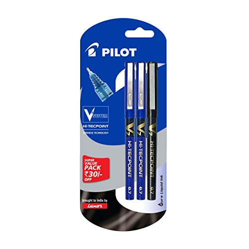 Pilot V7 Liquid Ink Roller Ball Pen (2 Blue +...