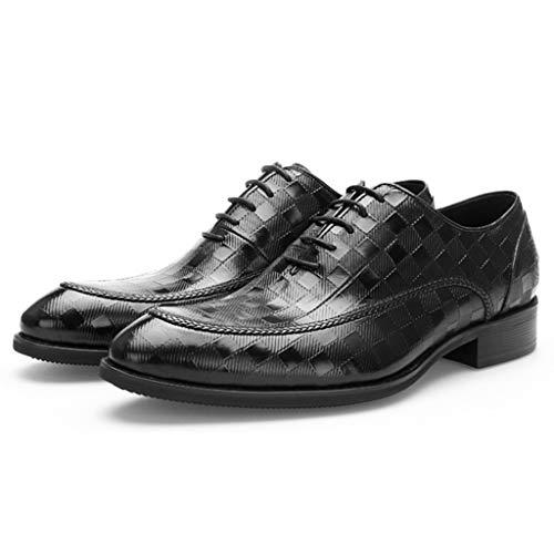 Herren Spitz Business Schuhe Formal Dress Oxford Schuhe Casual Plaid Geprägte Schnürschuhe Handmade Echtes Leder Wohnungen,Schwarz,43 -