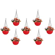 Go Hooked Round Rattan Plastic Hanging Planters/Beautiful Hanging Flower Pots for Garden Patio Balcony (Red) - Pack of 7