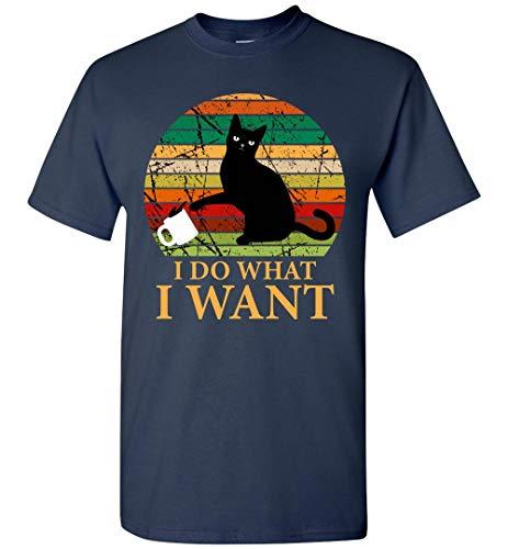I Do What I Want Vintage Retro Cat Pushing Coffee Mug Funny T-Shirt