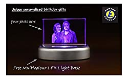 Birthday gift 3D Laser Engraved Crystal photo frame with Multicolor LED Base Light by Fusion Crystals