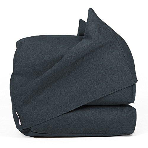 Gepolsterte Stoff-klappstuhl (Arketicom FU-TOUF Weicher Hocker, der zum Klappbett wird Klappbare Matratze oder Klappstuhl für Gäste Puff Room in Futon Stoff Gepolstert in Styroporkugeln 63x63x45 / 190x63x15 (Creme) (dunkelgrau schwarz))