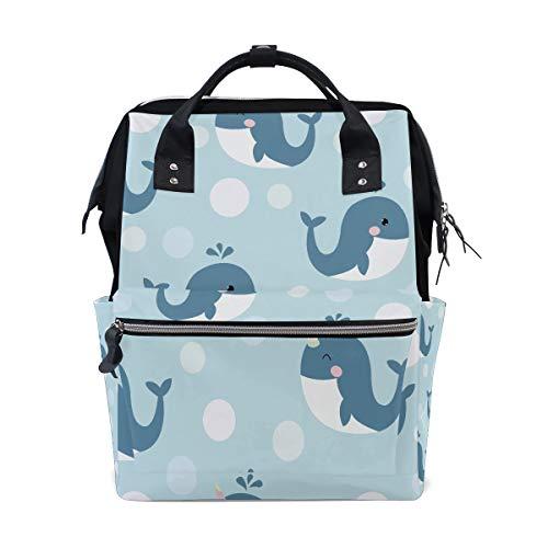 Blau klarer Karikatur Wal große Kapazitäts Windel bauscht sich Mamie Rucksack multi Funktionen Windel Pflegetasche Tote Handtasche für Kinderbaby Sorgfalt tägliche Frauen ()