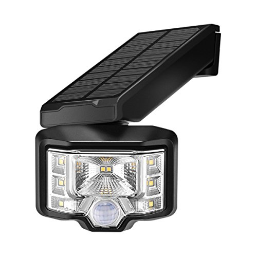 Luces Solares con Sensor de Movimiento, Luz de pared con Sensor de Movimiento 8 LEDs de energía solar con Iluminación de gran ángulo, Luz Solar Impermeable IP65 Luz de Seguridad Inalámbrica