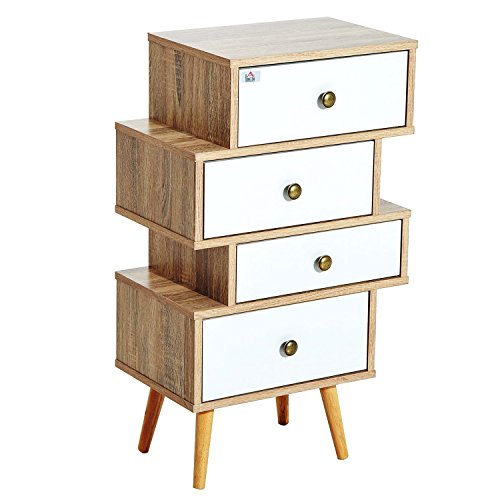 Meuble Commode chiffonnier Style scandinave 4 tiroirs coulissants 47 x 30 x 81 cm Coloris Blanc Bois de chêne