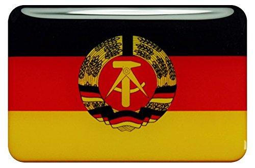 Preisvergleich Produktbild 3D Kfz-Aufkleber Sticker 15 x 10 cm (gedomt) Flagge DDR (RX150)