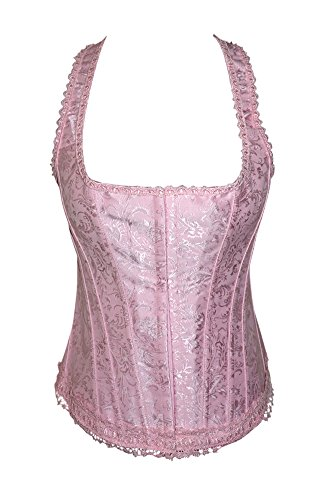 Lace Bridal Strong Boned Overbust Corset Lace Up Bustier Top Size Small