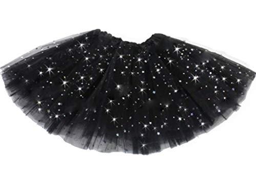Kleid Monelli Rock Tulle Mädchen Schwarz Gonnellina Glitter 2 Schichten Ballerina Zubehör Tutu Kleidung Karneval und Kostüme Einheitsgröße 2 - 8 - Kleine Mädchen Tutu Schwarz Kostüm