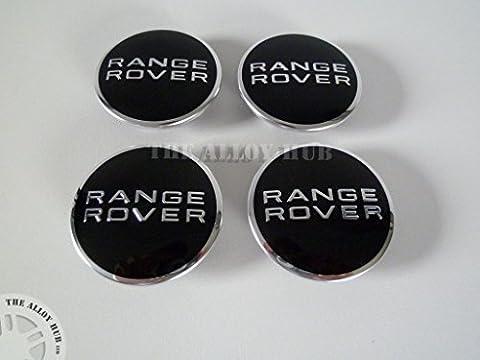 Range Rover Black/Chrome Alloy Wheel Centre Caps X4, L322 Vogue, Evoque, Sport, L405, L494