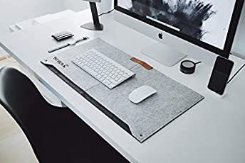 NIVERA® Washable Large PU Felt Leather Laptop Desk mat, Extended Gaming Mouse Pad, Keyboard Pad, Desk Mat for Office, with Pen & Paper Pocket (Grey)