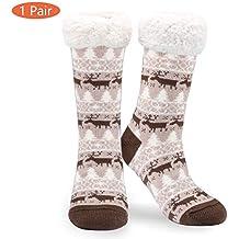 Philonext Sin calcetines antideslizantes, Regalo de Navidad Ciervos de copo de nieve Cálido y acogedor