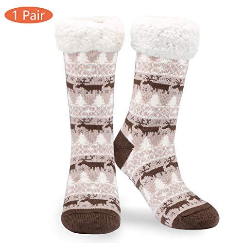 Philonext No Slip Slipper Socken, Weihnachtsgeschenk Schneeflocke Deer Warm Cosy Fuzzy Fleece-gefütterte Kniestrümpfe Winter Slipper Socken für Frauen Mädchen(Grau)