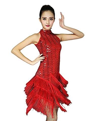 Honeystore 2016 Neuheiten Damen Ärmellos Quasten Swing Rhythmus Jazz Latein Dance Kleid mit Pailletten Rot (Couture Kostüm Tanzkleidung)