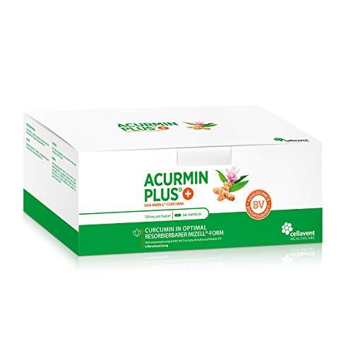Kurkuma Kapseln hochdosiert von Acurmin PLUS: Das Mizell-Curcuma (Curcumin) - C14-Zertifiziert - OHNE Piperin/Bioperin/Pfeffer von Cellavent Healthcare - 360 Kapseln natürliches Kurkuma