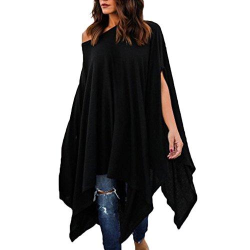 VEMOW Sommer Herbst Elegante Damen Frauen Plus Size Beiläufige Bluse Unregelmäßiges Hemd Täglich Party Strand Geschäft Arbeit Flügelhülsen Tops(Schwarz, 48 DE/L CN)