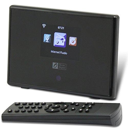 Ocean Digital WR01C Wi-Fi Internet Radio WLAN Wireless Tuner Bluetooth Receiver Desktop Radio Colour Display - Black