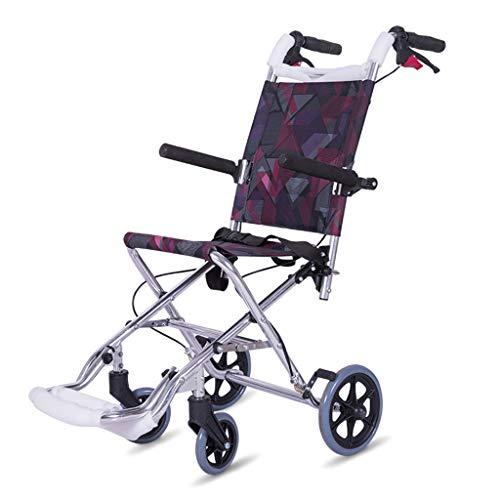 DYG Krankenpflegehelfer Travel Portable Rollstuhl Aluminiumlegierung Old Man Light Folding Cart kann im Flugzeug Sein Super Light Scooter - Lite Cart