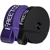 FREETOO Bandas de Resistencia de Goma Fitness Cinta de Resistencia para el Entrenamiento de Fuerza/músculos/Ejercicio/Home gimnasios en 5 Puntos Fuertes ((púrpura+Negro))