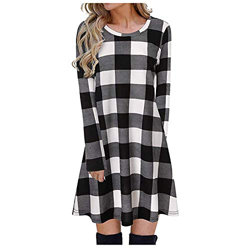 Boutique sale 2019 Herbst Damenmode Rundhals Sieben-Punkt-Ärmel Plaid-Kleid Plaid-Muster Weibliches Beiläufiges Langärmliges Loses T-Shirt-Kleid -