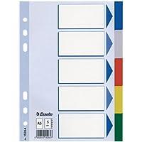 Leitz Blanko - Separadores (A5, PP, 5 hojas), multicolor