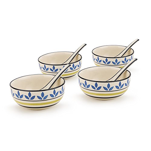 KITTENS Ceramic Soup Bowls with Spoons, Multicolour (Set of 4)