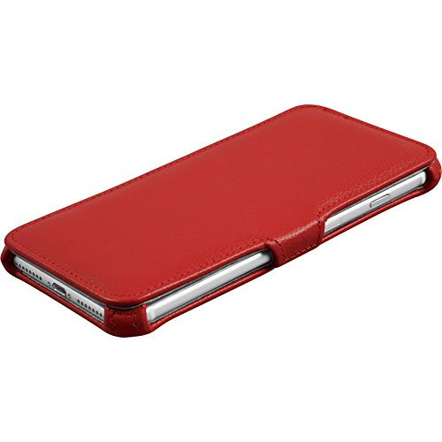 PhoneNatic Echt-Lederhülle für Apple iPhone 7 Plus Leder-Case rot Tasche iPhone 7 Plus Hülle + Glasfolie Rot