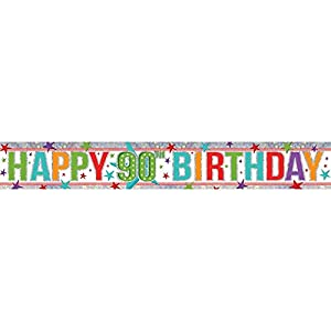 "Amscan 9900971 Pancarta holográfica de 2,7 m con texto en inglés ""Happy 90th Birthday"""