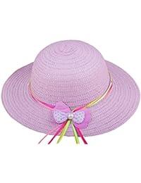 SAMGU Bowknot enfants Chapeau de Paille Summer Beach filles chapeaux de plage Enfants Sun Hat pour 2-6 ans