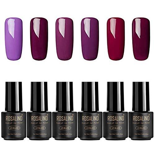 ROSALIND Esmalte de uñas semipermanente en gel empapa de la lámpara LED UV color púrpura 6Pack 7 ml
