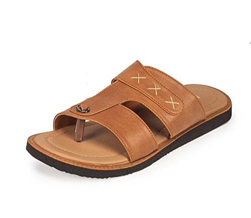 Khadim's Men's Brown Faux Leather Sandals - 9  available at amazon for Rs.359