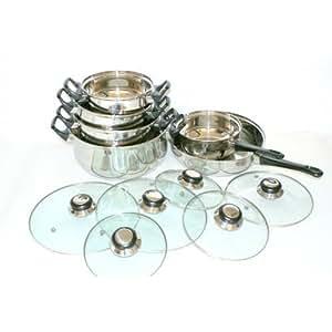 Batterie de cuisine 12 pièces acier inox triple fond A07-2454
