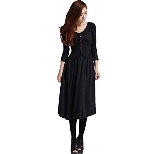 minetom-femme-manteau-longue-vintage-tricote-avec-boutons-one-piece-robe-noir-fr-36-