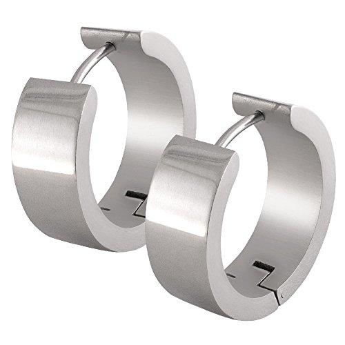 Ein Paar SoulCats® Klappcreolen Creolen aus Edelstahl silber glänzend für Damen und Herren, Größe:Ø 20mm / 7mm breit;Farbe:Silbern