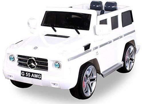 Actionbikes Motors Original MercedesBenz AMG G55 High Door - Leder Sitz Jeep Lizenz Elektro Kinderauto Kinderfahrzeug Spielzeug (weiß)*